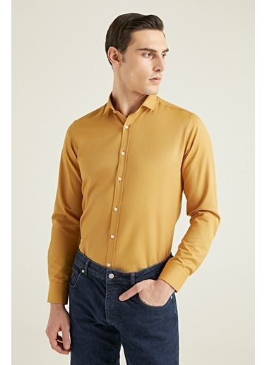 TWN Slim Fit Oxford Gömlek Hardal